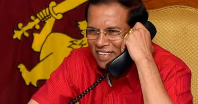 Sri Lanka President Maithripala Sirisena speaks on telephone with US Vice President-Elect Mike Pence. Photo Credit: Sri Lanka government.