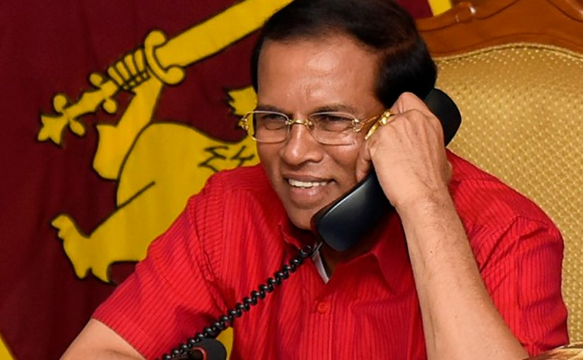 Sri Lanka President Maithripala Sirisena speaks on telephone with US Vice President-Elect Mike Pence. Photo Credit: Sri Lanka government.