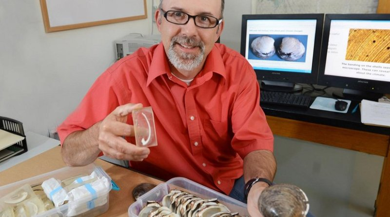 Iowa State University's Alan Wanamaker studies clam shells from the Atlantic for clues to the ocean's past climate. Credit Bob Elbert/Iowa State University