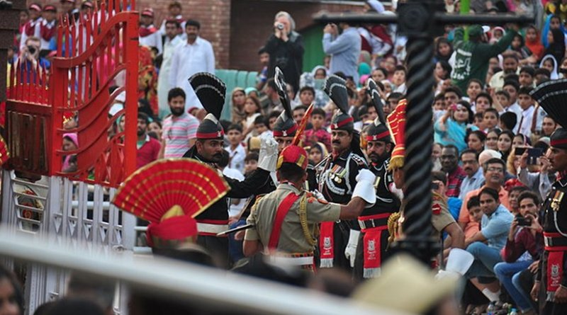 Border personnel from India and Pakistan during the Wagah Border ceremony. Photo by Therealhiddenace, Wikipedia Commons.