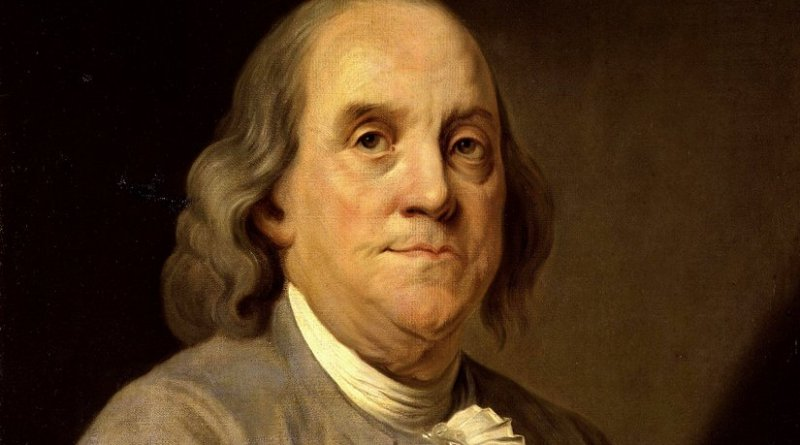 Portrait of Benjamin Franklin by Joseph Duplessis, Wikipedia Commons.