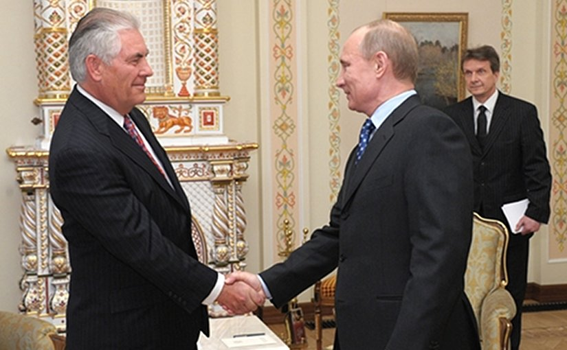 Rex Tillerson with Russia's Vladimir Putin. File photo: premier.gov.ru, Wikipedia Commons.