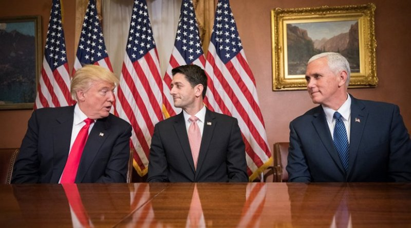 Donald Trump, Paul Ryan, and Mike Pence. Photo by Caleb Smith; Office of the Speaker of the House, Wikipedia Commons.