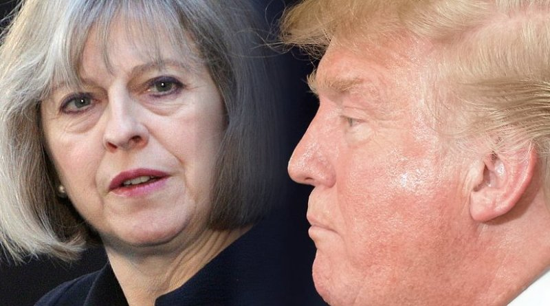 United Kingdom's Theresa May and United States' Donald Trump. Credit: Wikipedia Commons photos from Foreign and Commonwealth Office and Michael Vadon.
