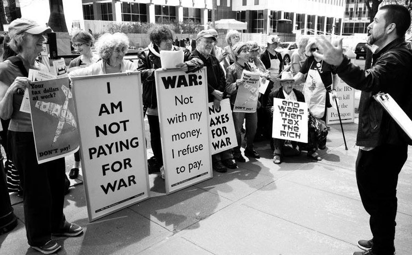 "War tax refusers in NYC 2016. Photo appears in the February/March edition of ""The Catholic Radical""."