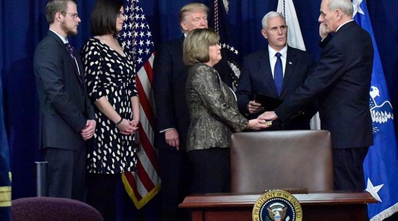 John Kelly is ceremonially sworn in prior to President Donald Trump's speech at DHS Headquarters. Photo Credit:U.S. Department of Homeland Security (DHS), Wikipedia Commons.