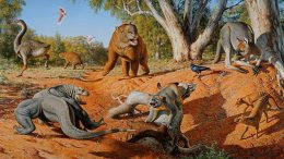 This is a menagerie of megafauna that inhabited Australia some 45,000 years ago. Credit Peter Trusler, Monash University