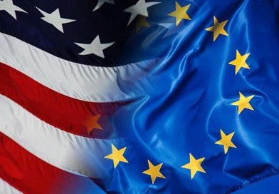Flags of the European Union and the United States.