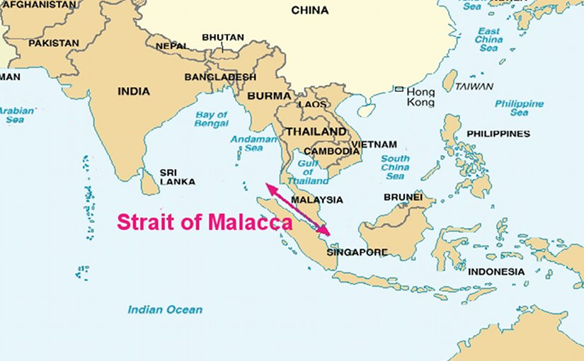 The Strait of Malacca connects the Pacific Ocean to the east with the Indian Ocean to the west. Source: DoD, Wikipedia Commons.