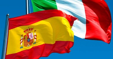 Flags of Spain and Italy.