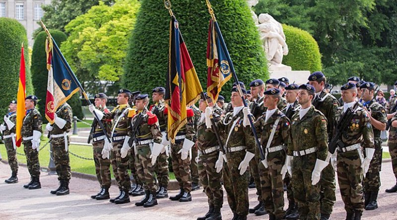 Personnel of the European Corps in Strasbourg, France, during a change of command ceremony. Photo by Claude Truong-Ngoc / Wikimedia Commons.