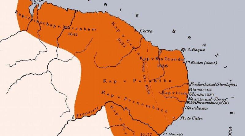 Location of Dutch Brazil. Credit: H. Hettema jr. (ed.), Wikipedia Commons.