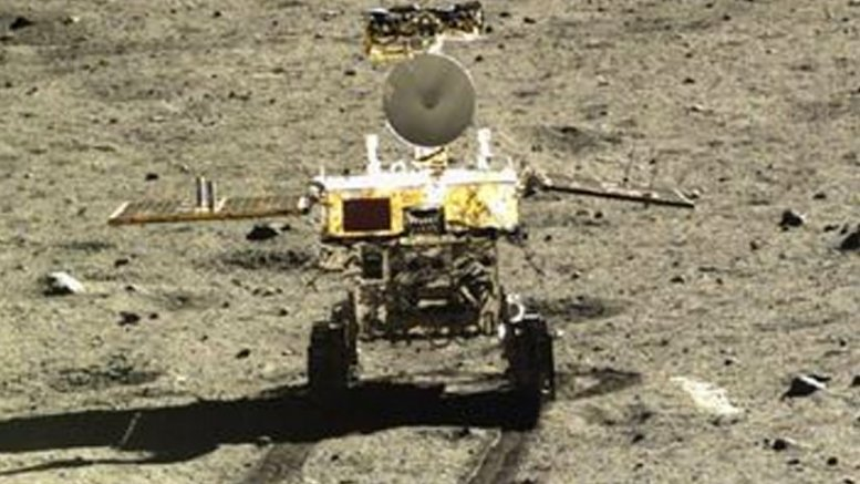 Yutu, China's first moon rover, imaged by the Chang'e 3 lander. Credit: Chinese National Space Administration/China Central Television, Wikipedia Commons.