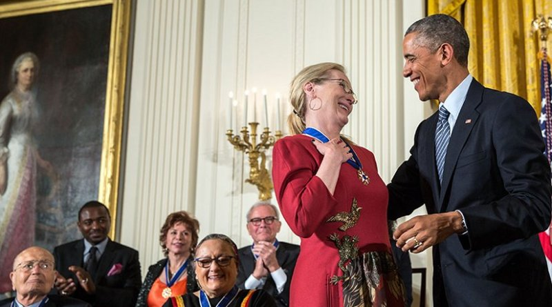 President Barack Obama presents the Presidential Medal of Freedom to Meryl Streep during a ceremony in the East Room of the White House, Nov. 24, 2014. (Official White House Photo by Pete Souza)