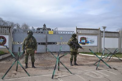 Military base at Perevalne during the 2014 Crimean crisis. (Source: Anton Holoborodko/Ex.ua)