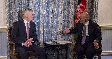 Secretary of Defense Jim Mattis meets with Afghan President Ashraf Ghani in Munich, Germany, Feb. 17, 2017. DoD photo by Air Force Tech. Sgt. Brigitte N. Brantley