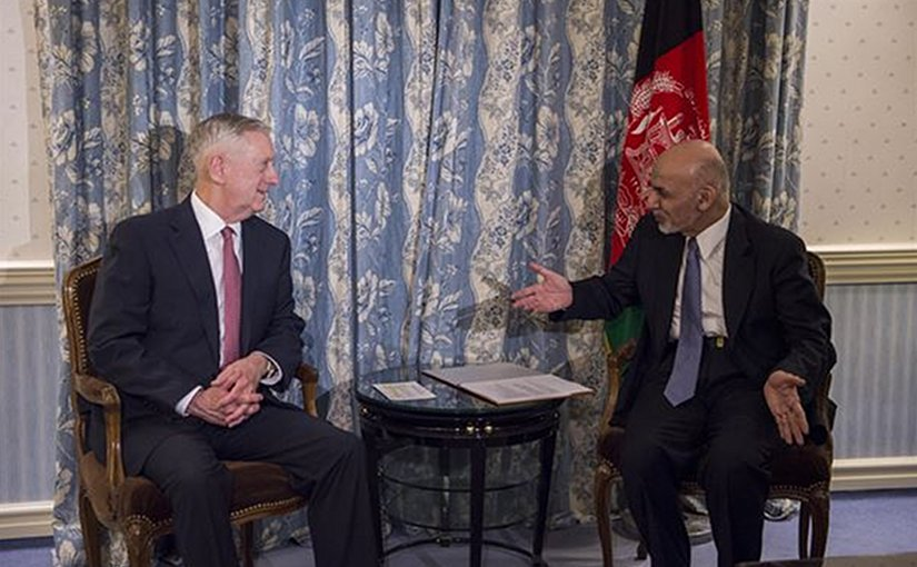 Secretary of Defense Jim Mattis meets with Afghan President Ashraf Ghani in Munich, Germany, Feb. 17, 2017. DoD photo by Air Force Tech. Sgt. Brigitte N. Brantley