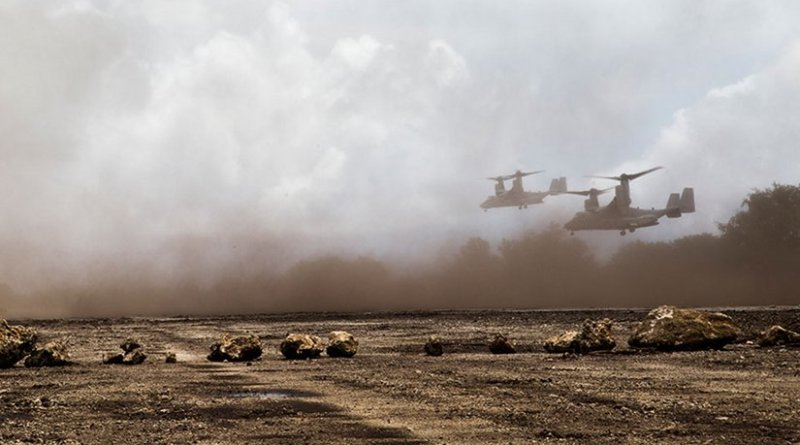 Two U.S. Marine Corps MV-22B Osprey tiltrotor aircraft participate in Valiant Shield 2014 in Tinian, Northern Mariana Islands, September 2014 (DOD/Alex Walters)