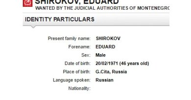 Edvard Shirokov, currently on the Interpol's red notice, based on a warrant issued by Montenegrin authorities. Photo: Interpol.