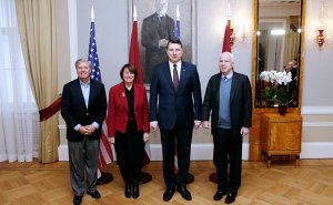 Senators John McCain, Lindsey Graham, and Amy Klobuchar visiting President Raimonds Vējonis of Latvia (Source: Office of the President of Latvia)