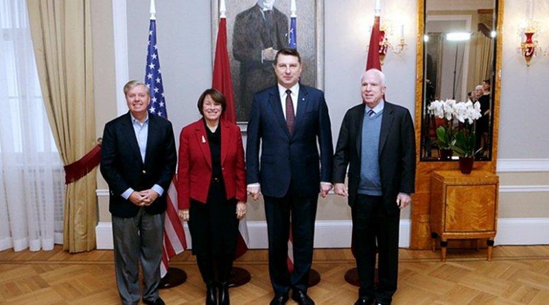 Senators John McCain, Lindsey Graham, and Amy Klobuchar visiting President Raimonds Vējonis of Latvia (Source: Office of the President of Latvia)