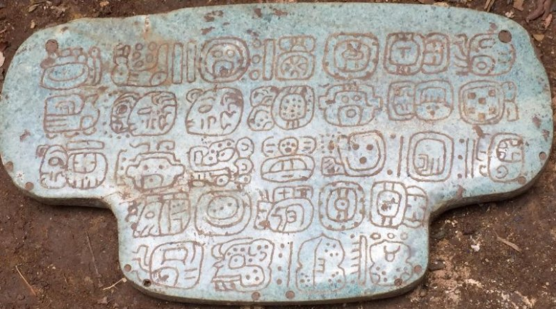 The jade once belonging to an ancient Maya king is inscribed with 30 hieroglyphs. It was used during important religious ceremonies. Credit Courtesy G. Braswell/UC San Diego