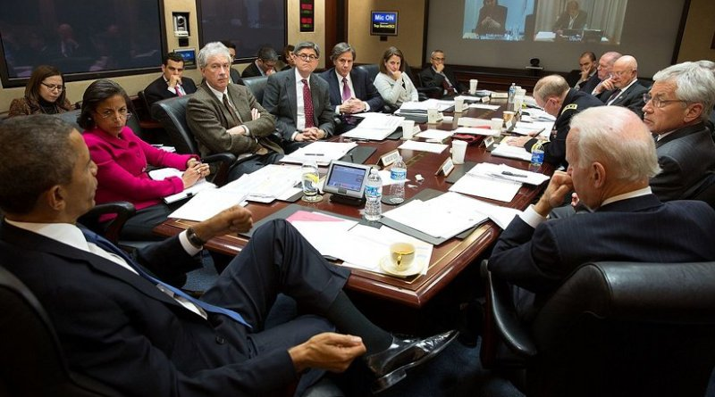President Barack Obama convenes a National Security Council meeting in the Situation Room of the White House to discuss the situation in Ukraine, March 3, 2014. (Official White House Photo by Pete Souza)