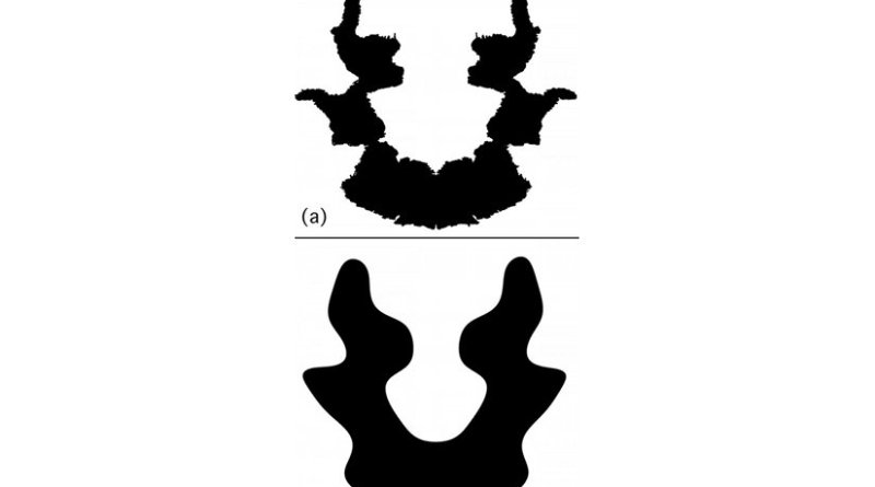 Rorschach's Blot Seven is shown at the top (a). Note the tell-tale fractal signatures of irregular curves or shapes at the edges of the symmetrical image. Some people see a woman's head with a ponytail. Below (b) the inkblot has been altered with the fractal borders removed. The ability to see hidden patterns is reduced. Credit Courtesy of Richard Taylor