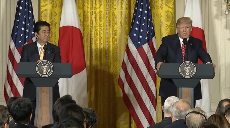 Japan's Prime Minister Shinzo Abe and US President Donald Trump. Credit: White House video screenshot.