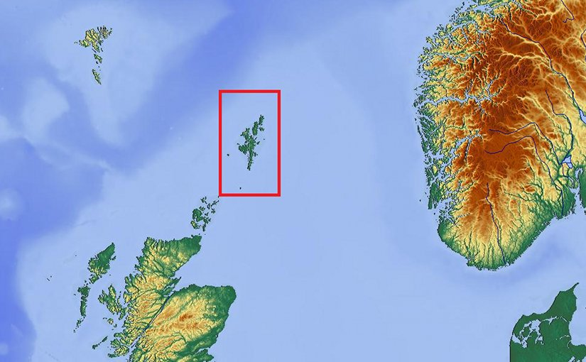 Shetland (boxed) in relation to surrounding territories including Norway (to the east), the Faroe Islands (to the north west), and Orkney and Great Britain (to the south west). Source: Wikipedia Commons.