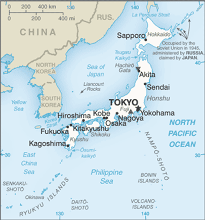 Figure 1. Map of Japan Source: Central Intelligence Agency, The World Factbook