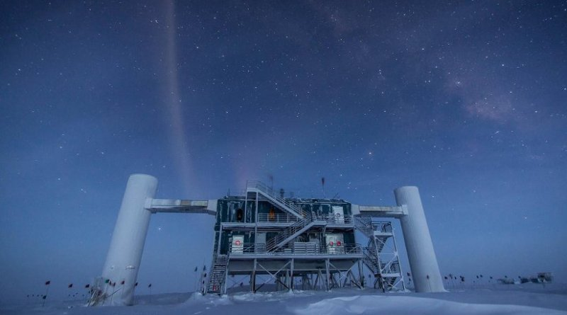 New measurements of neutrino oscillations, observed at the IceCube Neutrino Observatory at the South Pole, have shed light on outstanding questions regarding fundamental properties of neutrinos. Credit Courtesy of IceCube Neutrino Observatory