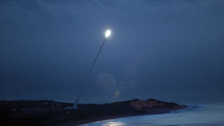 Standard Missile-3 is launched from Pearl Harbor–based Aegis cruiser USS Lake Erie enroute to intercept as part of Missile Defense Agency test of sea-based capability under development, yet tactically certified and deployed with U.S. Navy, November 2007 (U.S. Navy)