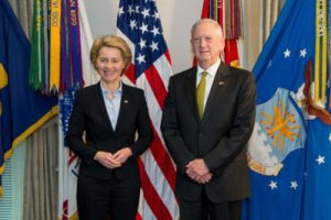 Secretary of Defense Jim Mattis meets with Ursula von der Leyen, Germany's defence minister, at the Pentagon in Washington, D.C., Feb. 10, 2017.