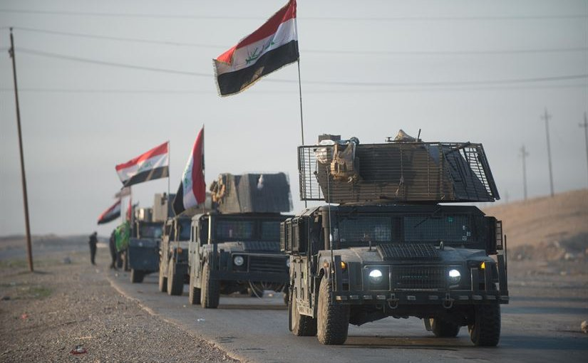An Iraqi counterterrorism service convoy moves from Baghdad toward Mosul, Iraq, as part of the effort to liberate Mosul from the Islamic State of Iraq and Syria, Feb. 23, 2017. Army photo by Staff Sgt. Alex Manne