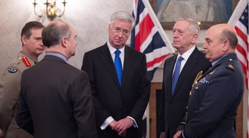 Defense Secretary Jim Mattis speaks with British Defense Secretary Michael Fallon, center, before an arrival ceremony at Britain's Defense Ministry in London, March 31, 2017. DoD photo by Army Sgt. Amber I. Smith