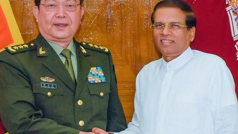 Minister of Defense and State Councilor of the People's Republic of China General Chang Wanquan with Sri Lanka President Maithripala Sirisena. Photo Credit: Sri Lanka government.