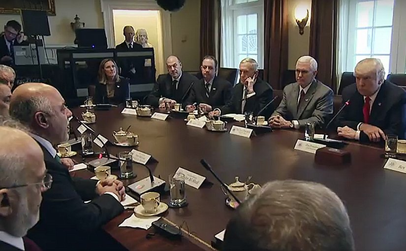 US President Donald Trump Leads a Bilateral Meeting with Iraq's Prime Minister al-Abadi. Photo Credit: White House video screenshot.