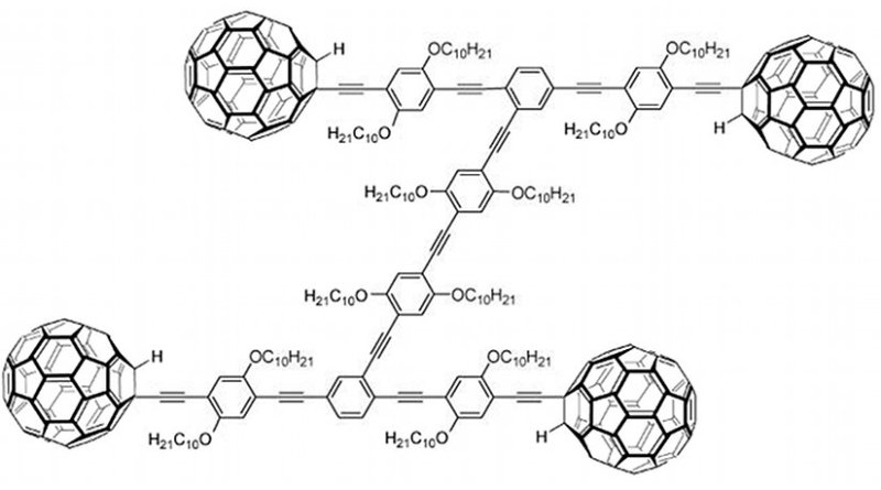 Chemical structure of a nanocar. The wheels are C60 fullerene molecules. Graphich by Materialscientist, Wikipedia Commons.