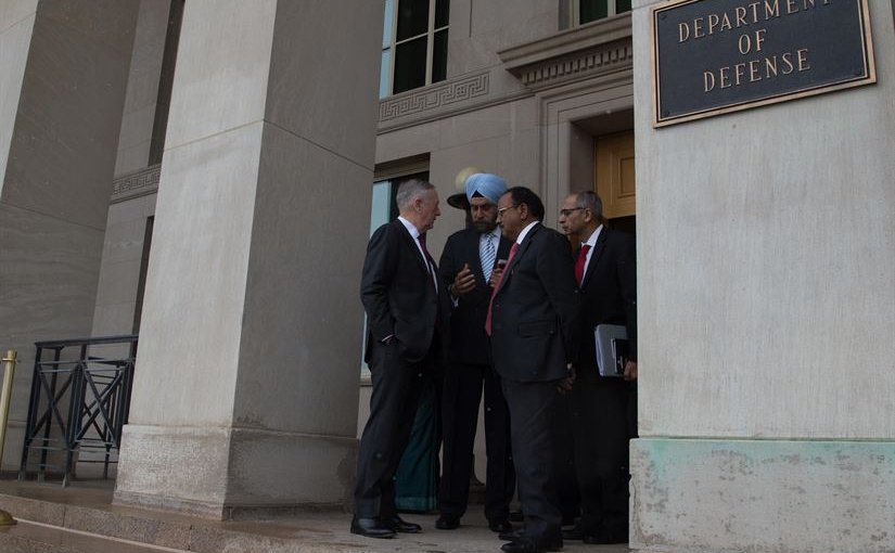 Defense Secretary Jim Mattis speaks with India's National Security Advisor Ajit Kumar Doval before a meeting at the Pentagon, March 24, 2017. DOD photo by Army Sgt. Amber I. Smith