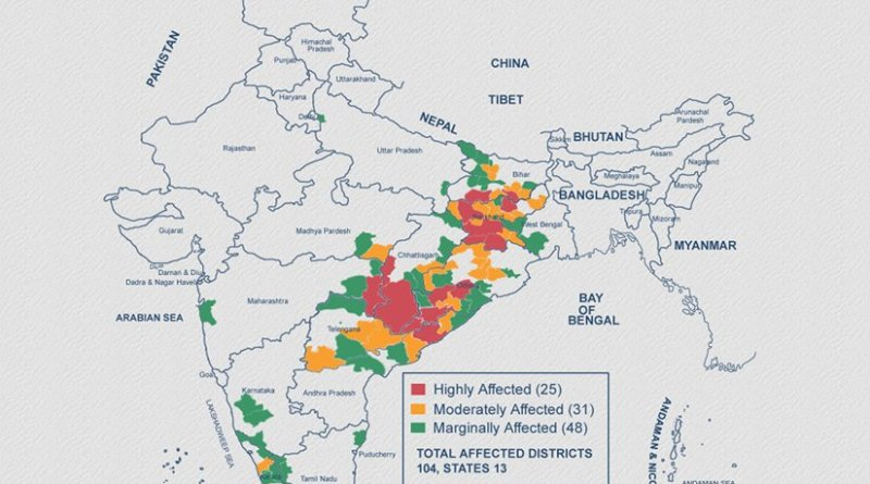 2017 Left Wing Extremists conflict map in India. Source: SATP.