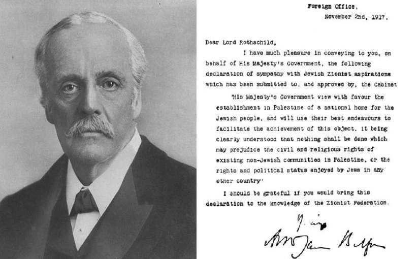 Portrait of Lord Balfour, along with his famous declaration. Source: Wikipedia Commons