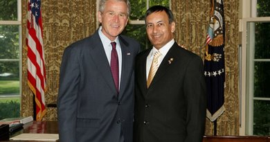 US President George W. Bush stands with Ambassador Husain Haqqani of the Islamic Republic of Pakistan, June 6, 2008, in the Oval Office during a credentials ceremony for newly appointed ambassadors to Washington D.C. White House photo by Joyce N. Boghosian, Wikipedia Commons.
