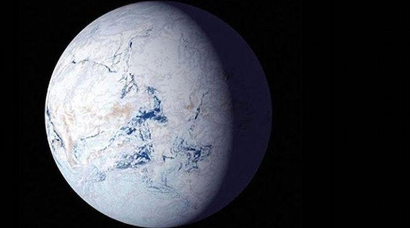 About 700 million years ago, runaway glaciers covered the entire planet in ice. Harvard researchers modeled the conditions that may have led to this so-called 'snowball Earth'. Credit (Image courtesy of NASA)