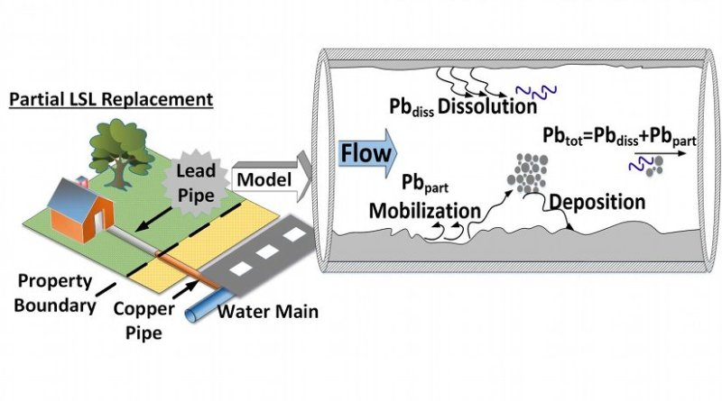 This diagram shows the new model at work: By taking into account a number of factors, including water-use patterns and water chemistry, engineers can predict where lead particles will dislodge and end up in the drinking-water supply during a partial lead service line (LSL) replacement. Credit Courtesy: Biswas Lab