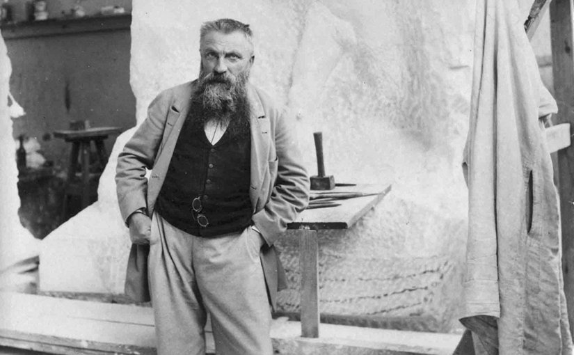 August Rodin photographed in his studio by Paul François Arnold Cardon a.k.a. Dornac (1858–1941). Source: Wikipedia Commons.