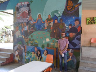 """Jesus was a migrant"" mural with the La 72 Director, Ramon Marquez"