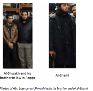 Photos of Abu Luqman (al-Shwakh) with his brother and of al-Shami