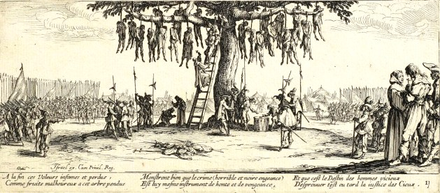 The Hanging by Jacques Callot shows the harsh measures taken against marauding bands of lawless soldiers during the Thirty Years War. These events became more common at the end of the war when nation states' governments gained a monopoly over military force and used them to stamp out these lawless bands of men.
