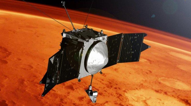 Illustration of MAVEN spacecraft at Mars. Credit NASA's Goddard Space Flight Center